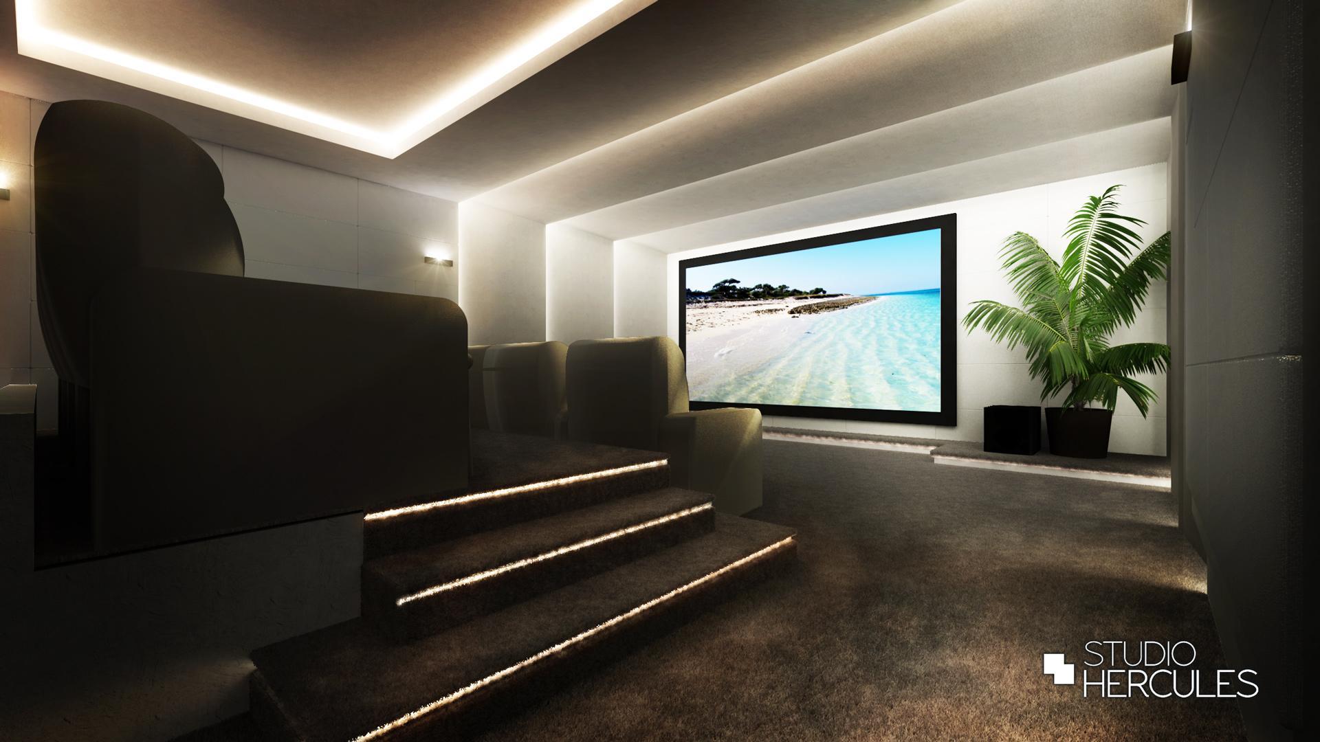 Luxe afwerking in moderne thuisbioscoop in Laren, 't Gooi