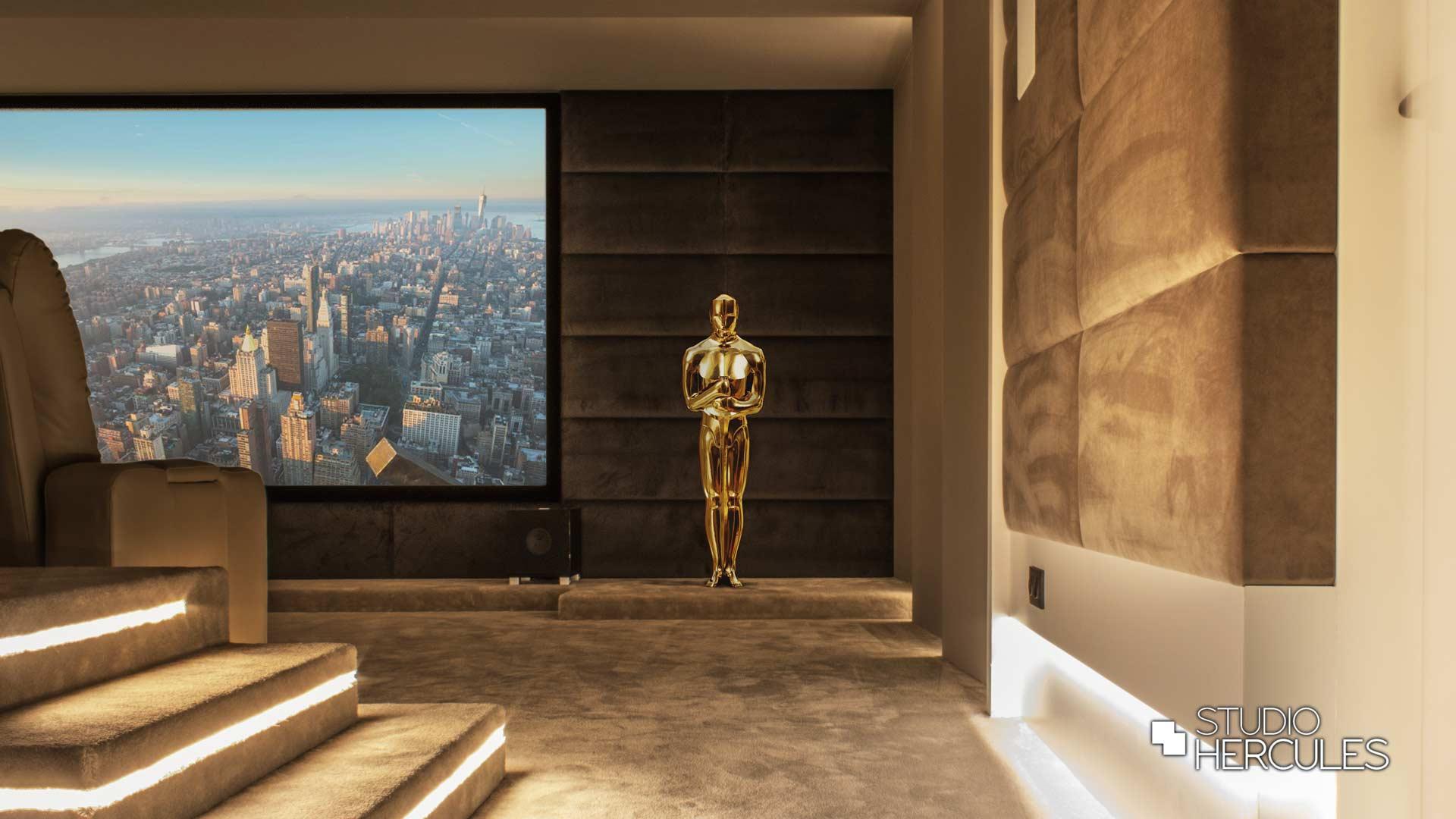 Oscar op tapijt podium ledstrips geintegreerd in wand en plafond