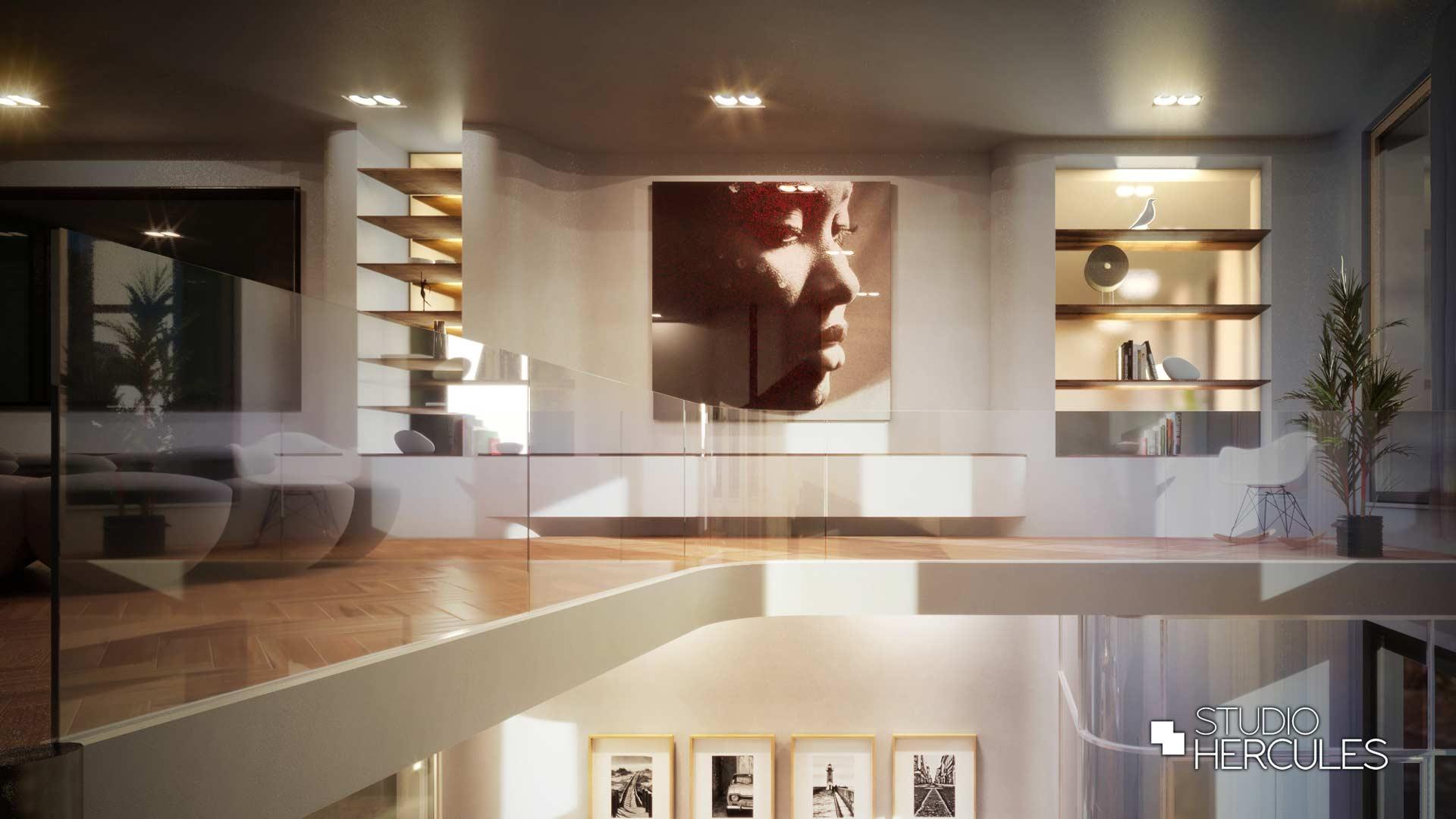 Loftwoonkamer strak interieur grote Erik Kuster elementen
