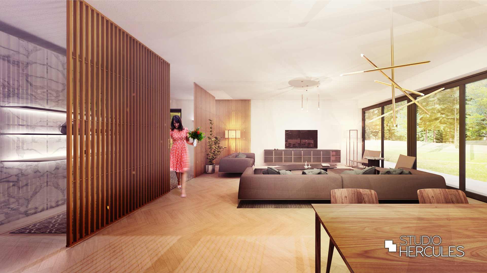 3D ontwerp strakke woonkamer marmer wandbekleding eikenhout visgraatvloer