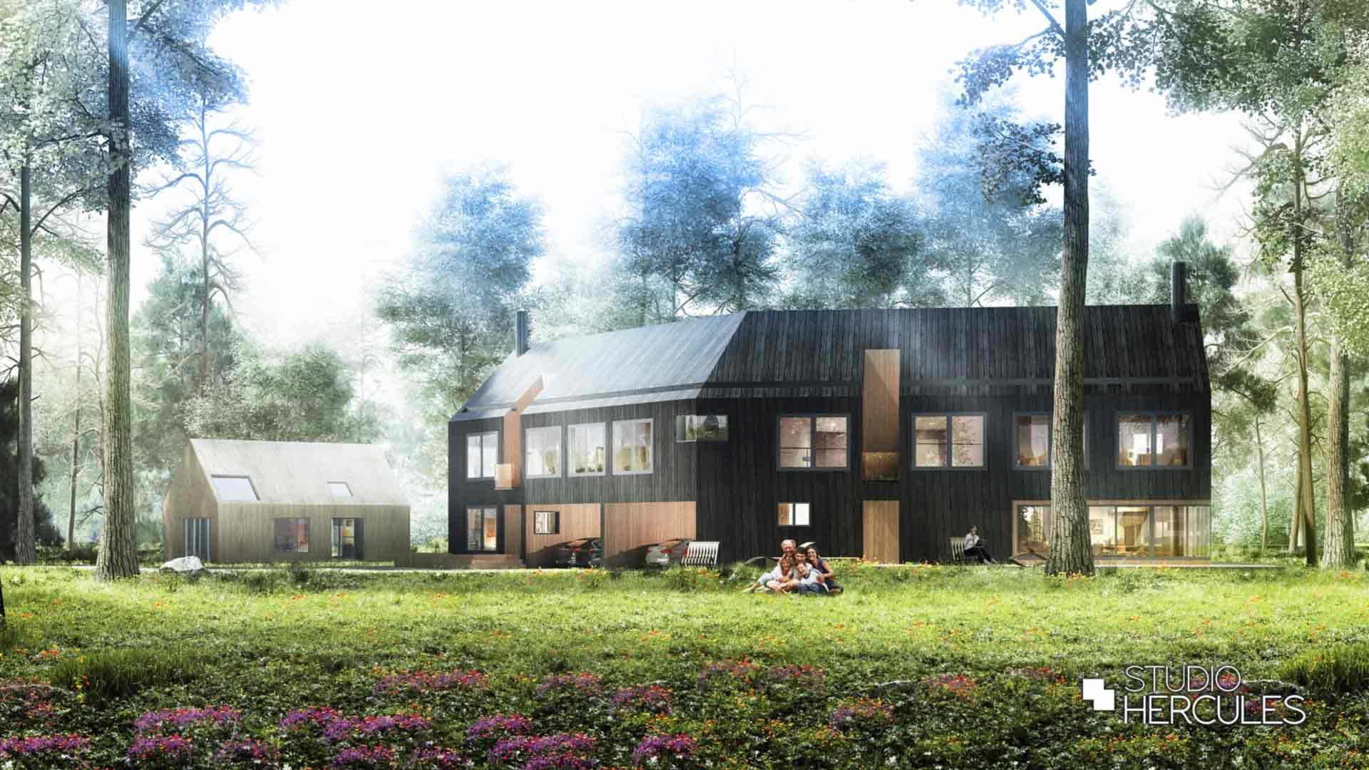 Lente schetsontwerp zwarte villa eikenhout met grote puien