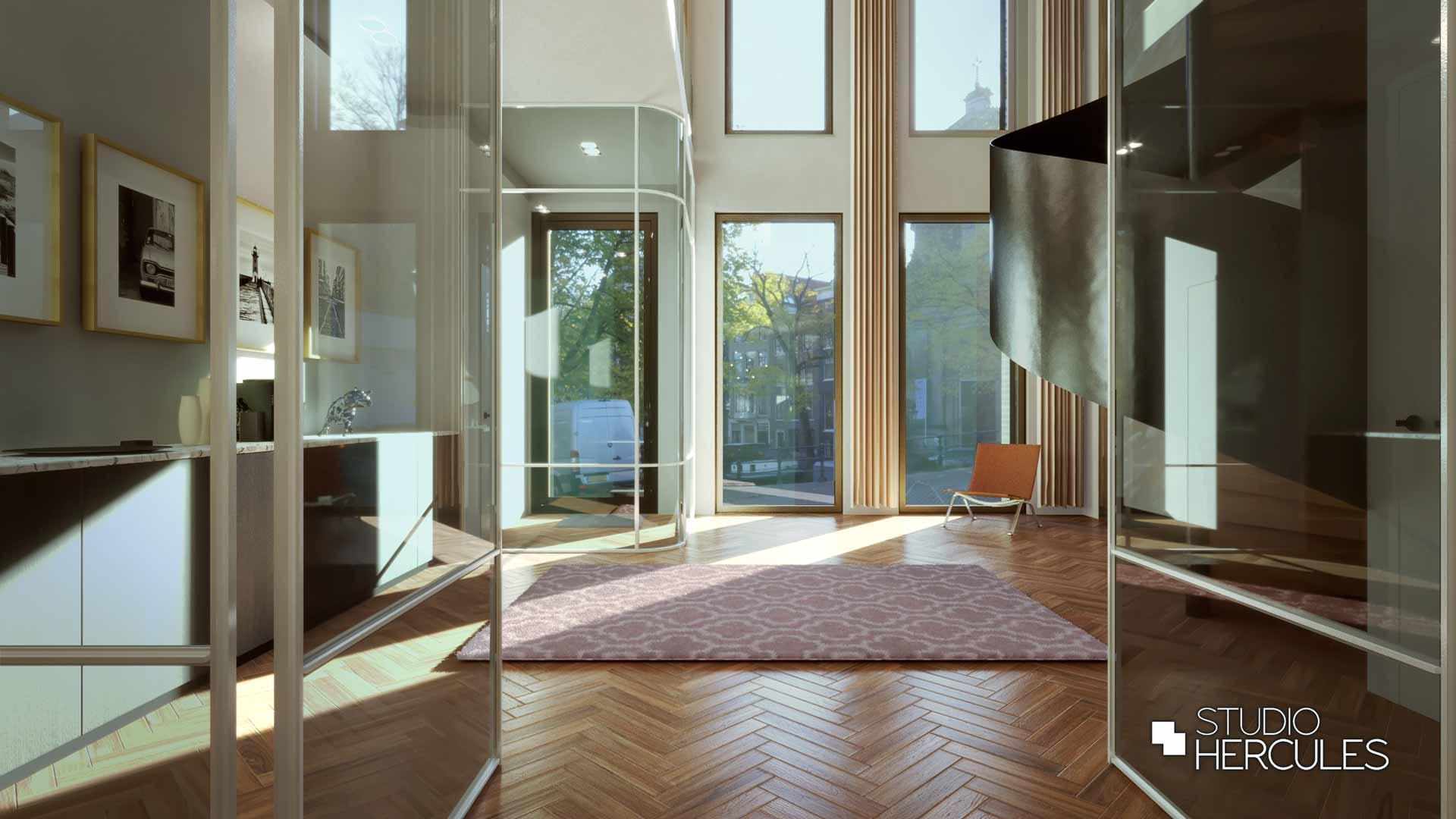 Stalen taatsdeur en stalen trap met ruim uizicht op grachten