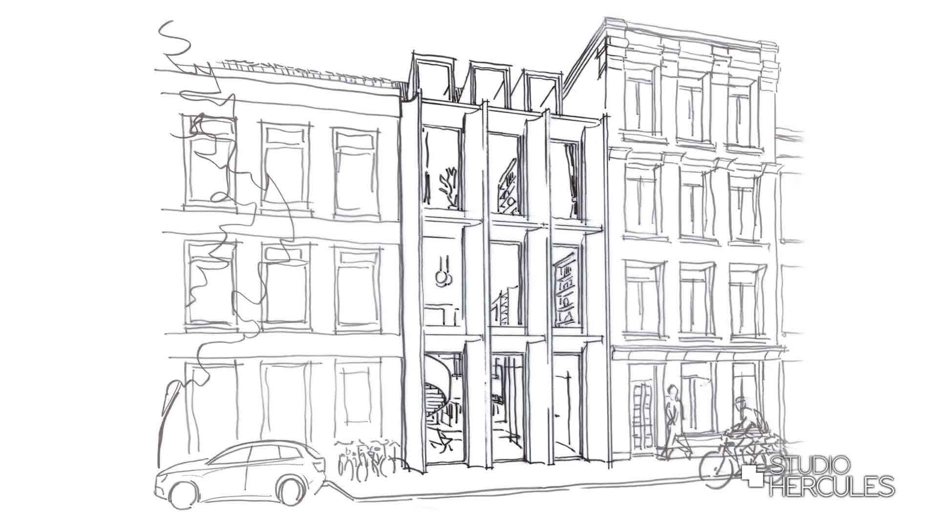 Perspectief schets straatniveau voorgevel modern herenhuis