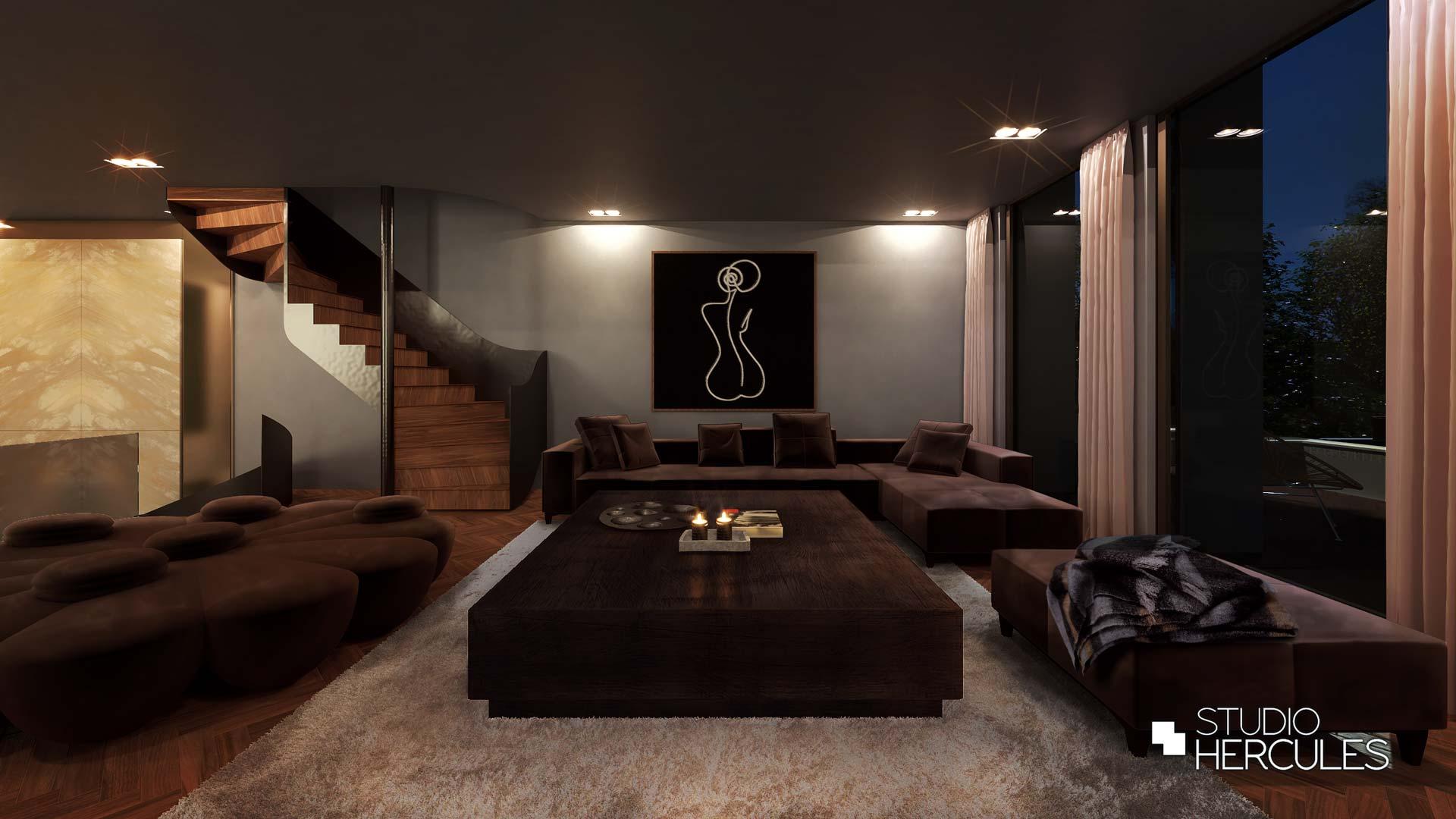 Hoogwaardige woonkamer met luxe loungebank