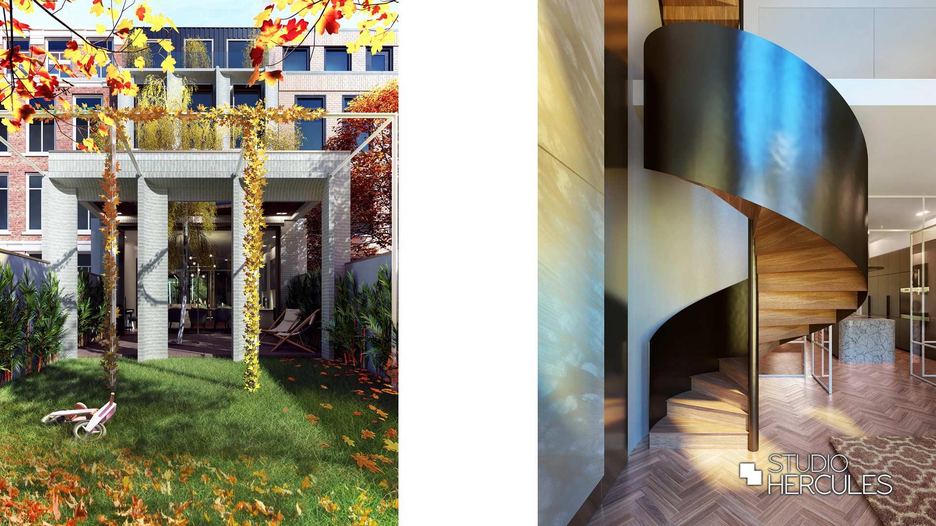 Herfst moderne architectuur zwart stalen trap luxe woonkamer