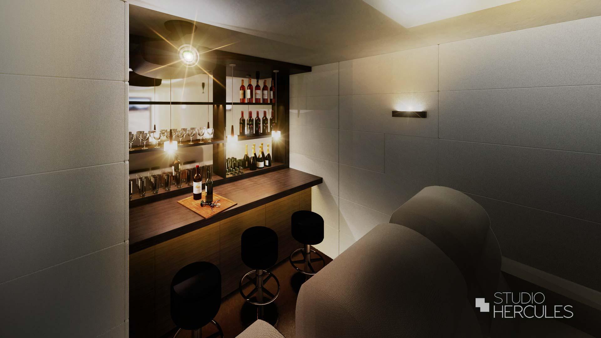 3D render ontwerp van bar in privebioscoop StudioHercules