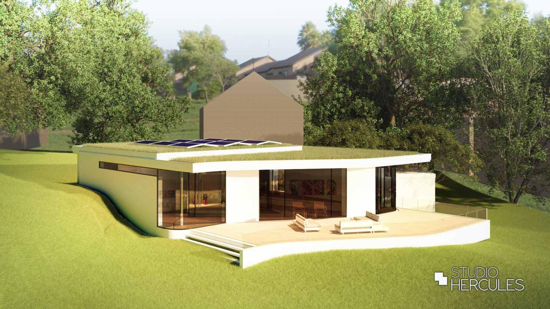 Stoere villa groot overstek, zonnepanelen mossedum dak