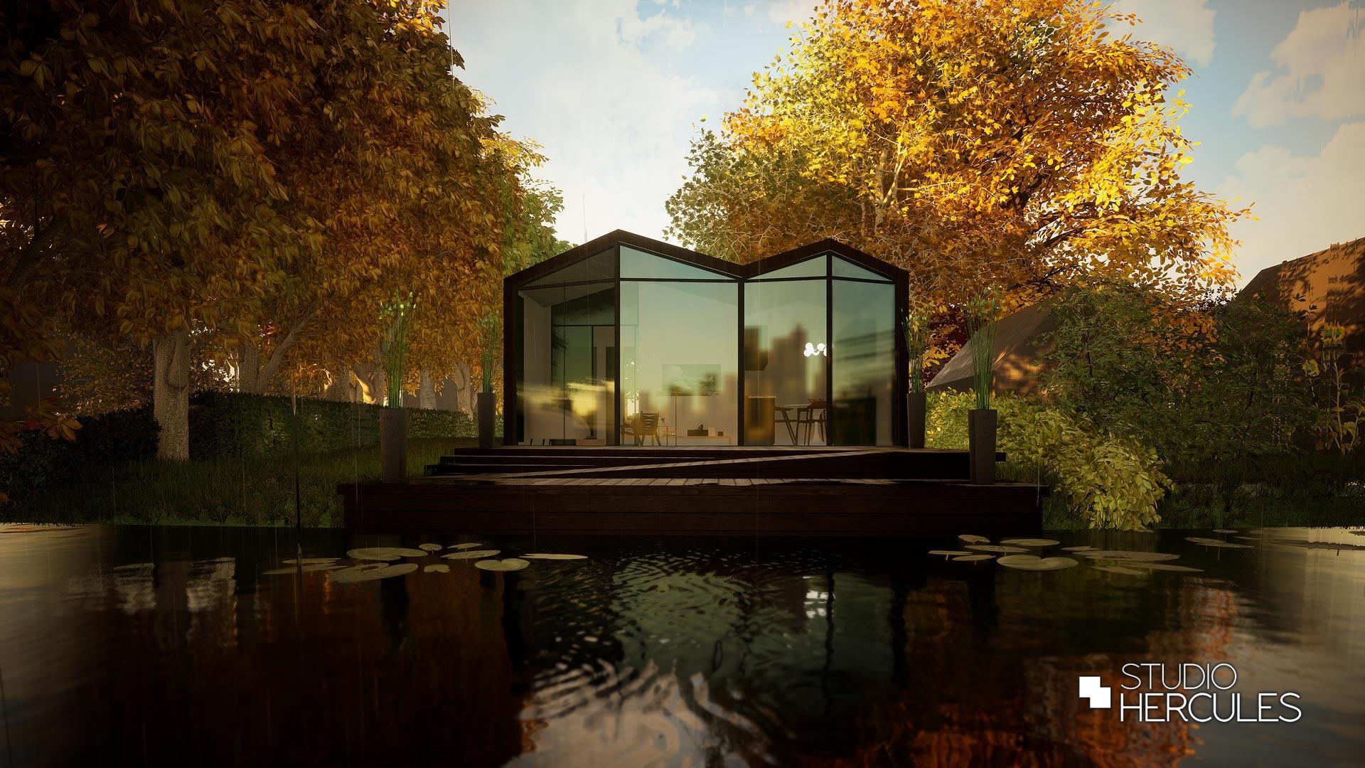 Herfstaanzicht moderne tiny house - StudioHercules