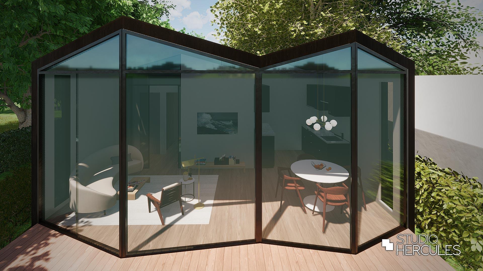 Glazen geveltechniek minimalistische woning
